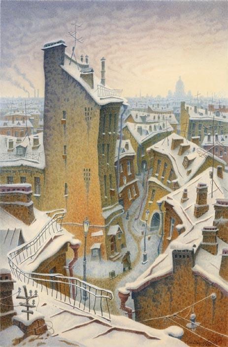 """St. Petersburg"" watercolor — Vladimir Kolbasov was born in Leningrad in 1960"