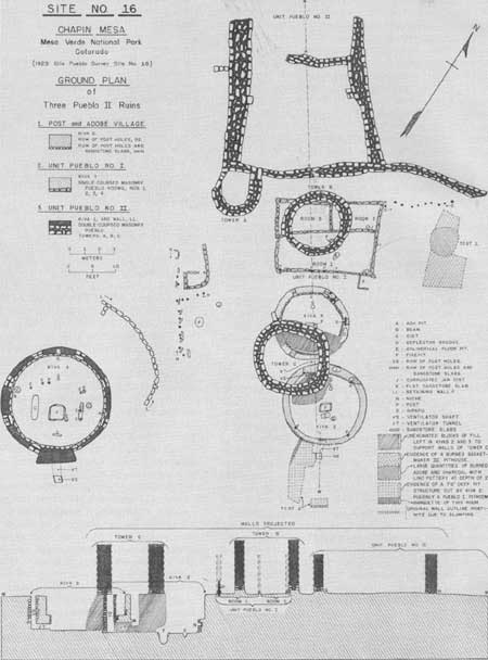 Lovely Mesa Verde National Park Ground Plan of Site Archaeological Excavations