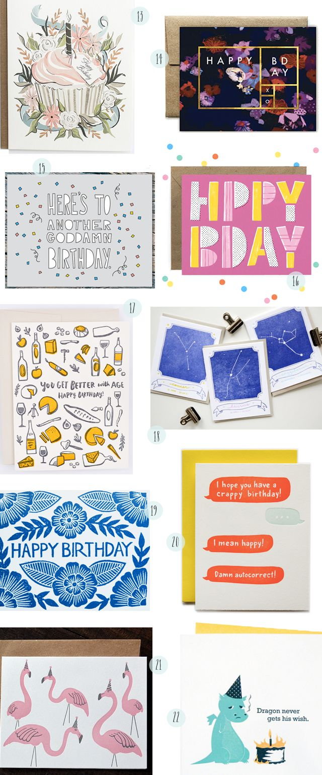 Stationery A–Z: Birthday Cards! // 13. Amy Heitman 14. Ferme à Papier 15. Near Modern Disaster 16. Hooray Today! 17. Hello!Lucky 18. Printerette Press 19. Katharine Watson 20. Ladyfingers Letterpress 21. Rise and Shine Letterpress 22. McBitterson's // Links on OSBP!