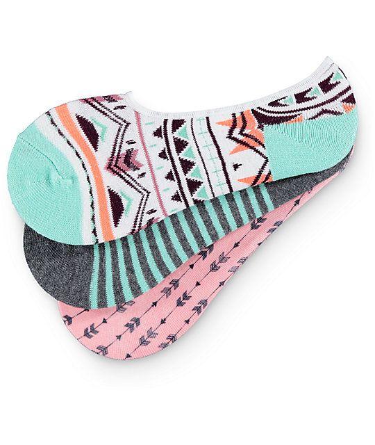 Empyre 3 Pack Jenny Arrow Tribal No Show Socks