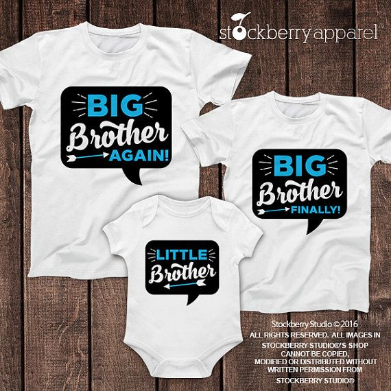 Personalized Big Brother Again, Big Brother Finally, and Little Brother Shirt Set of 3  ♥ ITEM DESCRIPTION 1 - Personalized Design (shown