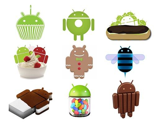 Android logo goes through each dessert operating system. Clever! #nerdalert