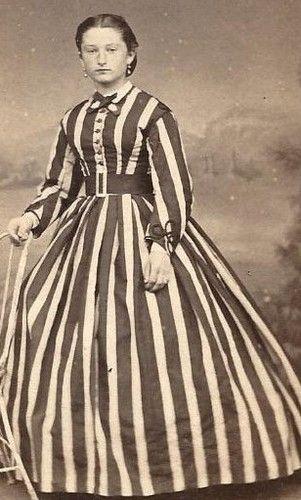 1860s Lovely Woman in Striped Dress with Belt France CDV   eBay