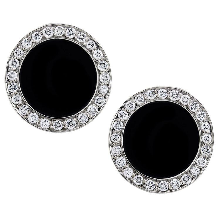 1stdibs | Platinum Onyx and Diamond Cufflinks