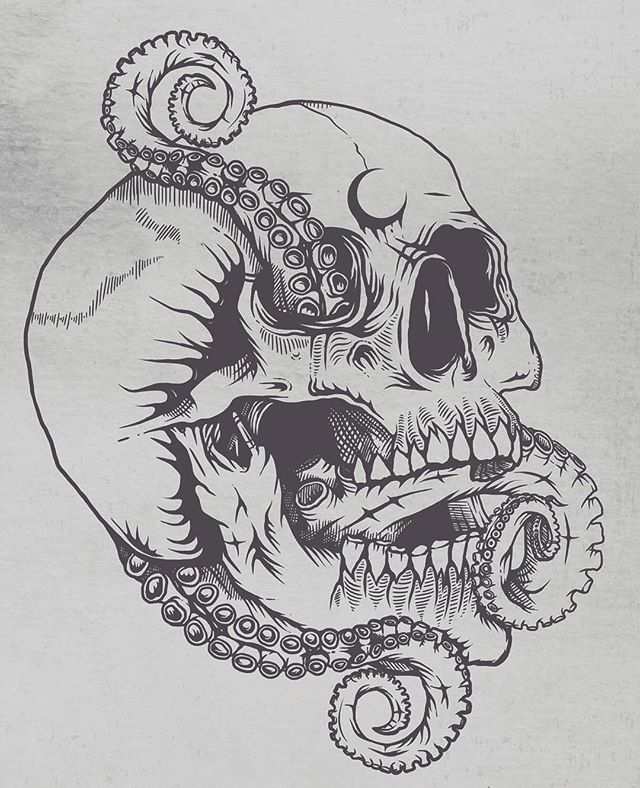 "Have you submitted to our ""Under the Sea"" book yet? Visit the 'CALL FOR ART' page at www.OOSBooks.com for more details! The deadline is only 4 DAYS AWAY!! Here's an awesome #skull #octopus #tentacle #illustration by @m_r92 that he submitted to the project along with lots of other outstanding pieces. Be sure to check out @m_r92 's for tons of inspiration...and don't forget to submit your art for ""Under the Sea"" by February 10th when submissions close."