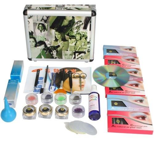Professional False Fake Eyelashes Eye Lash Extension Extend Kit Full Makeup Set Beginner Training Kit with Fashion Case