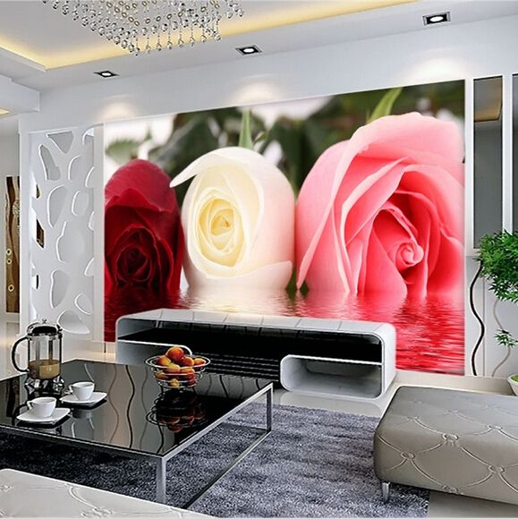 Wholesale Romantic rose mural entrance flower 3d wall photo mural wallpaper 3d wall mural living room wall paper mural