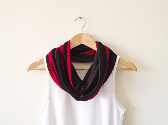 Black Red Stripes Tricot Fabric Infinity Scarf Soft by designscope, $26.00
