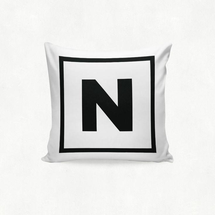 IMIMAH Monotone monogram letter 'N' outdoor throw cushion - $38 + pp from IMIMAH.co #monotone #monogram #letter #lettercushion #letterpillow #blackandwhite