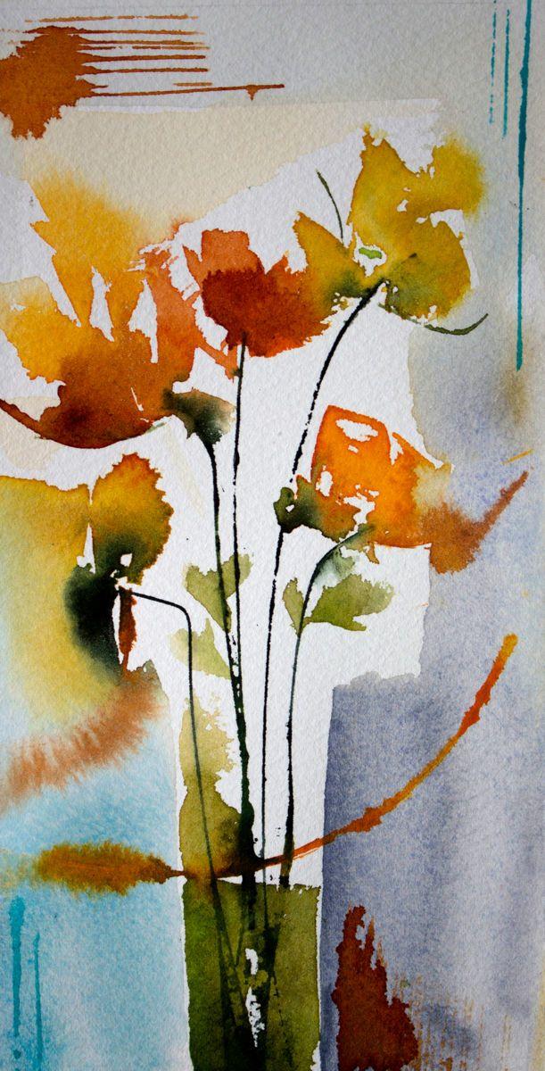 Petit instant N° 299 - Peinture,  20x10 cm ©2014 par Véronique Piaser-Moyen -                                                            Peinture contemporaine, Papier, Fleur, aquarelle, watercolor, piaser, piaser-moyen, fleurs, fleur, flower, flowers