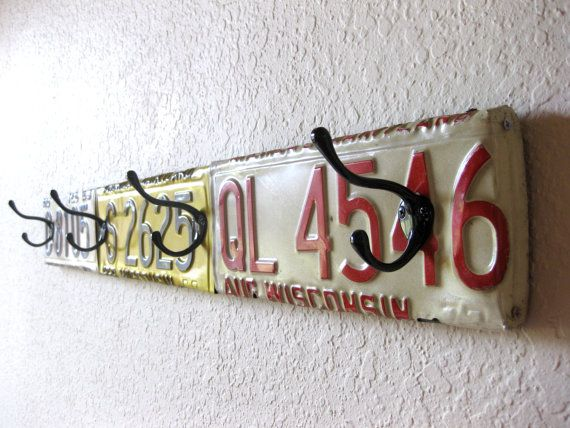 Upcycled License Plate Wall Coat Rack  34.75 by PhloxRiverStudio, $78.00