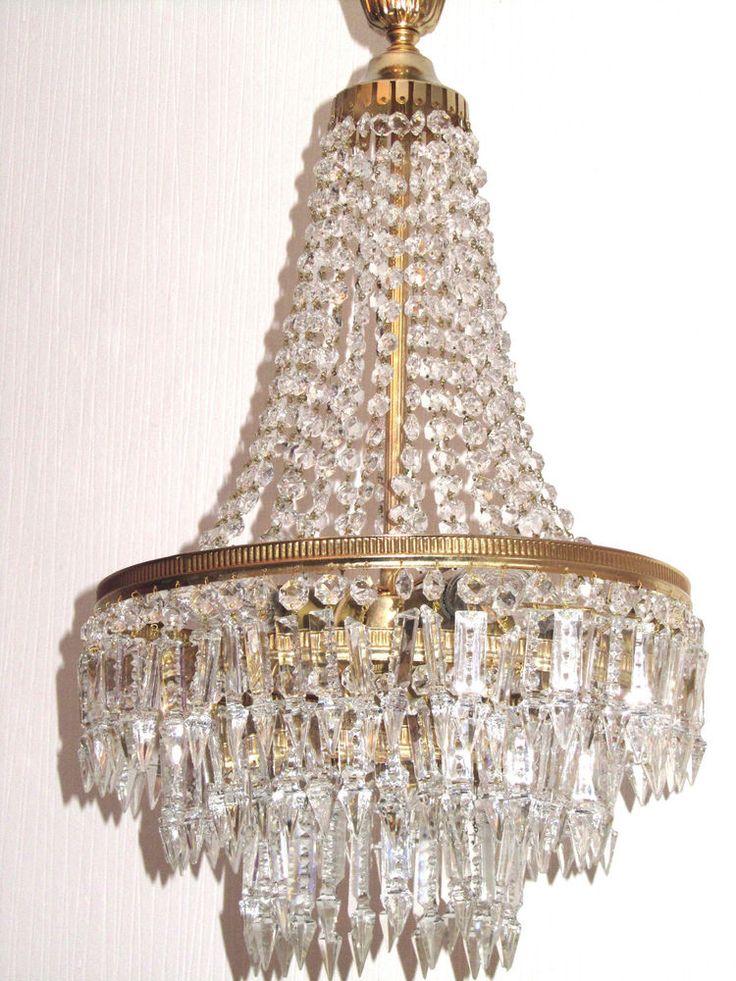Antik Französische Messing Bleikristall Kronleuchter, Lüster 5 Flammig