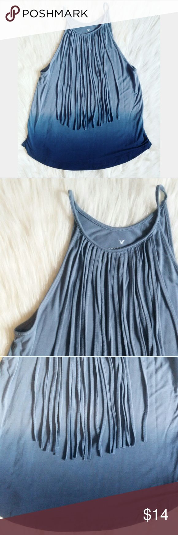 American Eagle Soft & Sexy Fringe Tank Like new! American Eagle Soft & Sexy fringe tank top. Ombre of blue colors..so so soft!  Please feel free to ask any questions you may have :) As always, I ship within 24 hours!! American Eagle Outfitters Tops Tank Tops