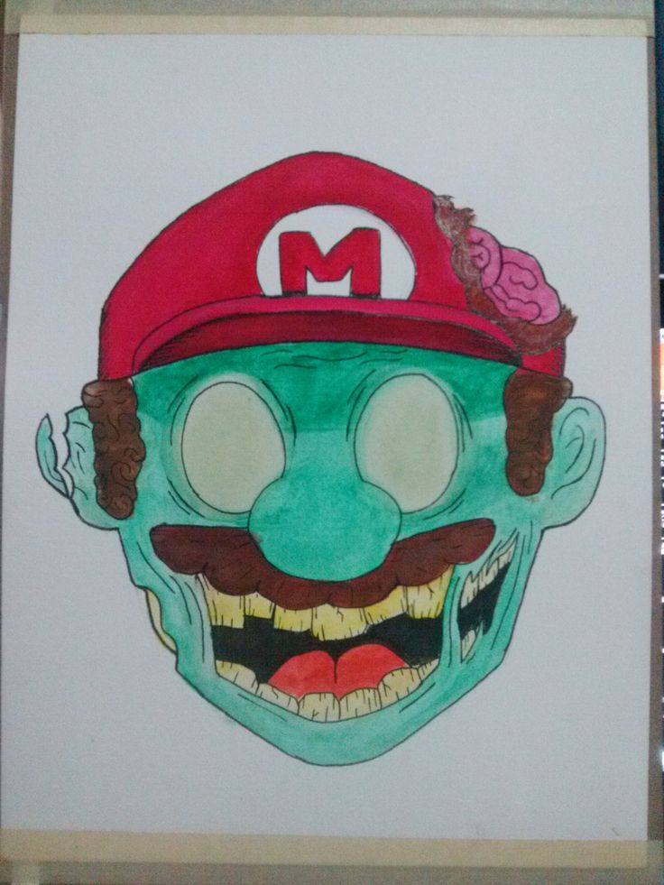 Mario Zombie2 (watercolor)