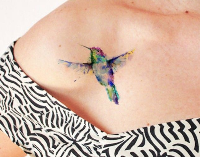Wind Dancer Watercolor Tattoo ($5): Show off your artistic flair with this watercolor hummingbird tat. This little birdie would look fab literally anywhere.