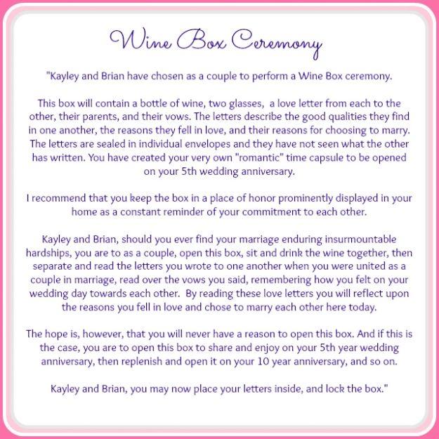 Wine Box Ceremony script » Serendipity Designs Weddings & Events Pensacola Wedding Planner Destin Wedding Planner www.serendipity-designs.com