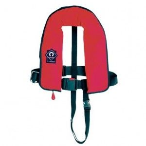 Ultimate junior Crewfit 150N standard automatic lifejacket with red cover, with harness