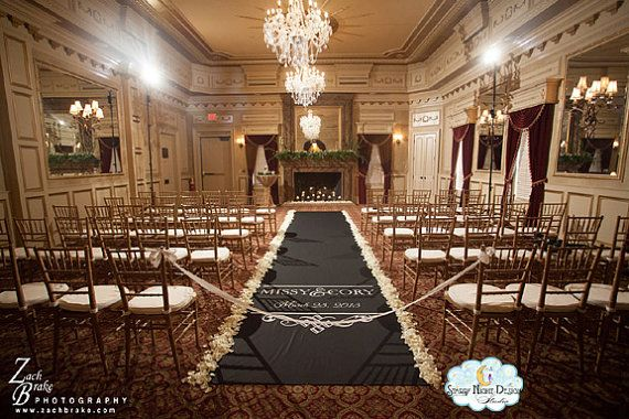 Aisle Runners, Wedding Aisle Runner, Custom Aisle Runner, Black Aisle Runner with Monogram on Quality Fabric that Won't Rip or Tear