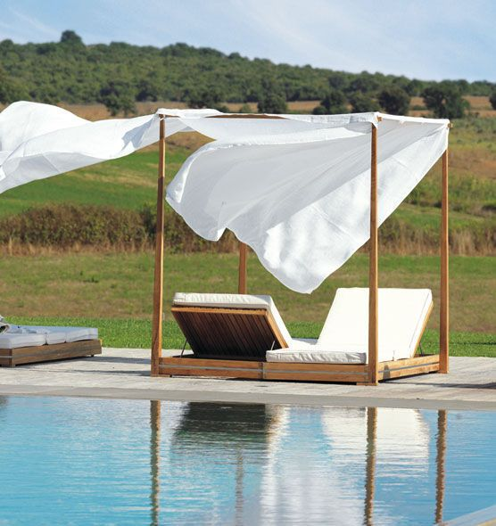 Double bed / canopy / contemporary / teak - ESSENZA - Ethimo