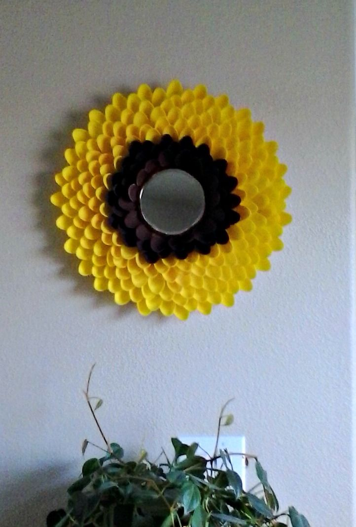 Sunflower Mirror Made From 240 Plastic Spoons I Wanted A Nice Full Flower Foam Core Board A