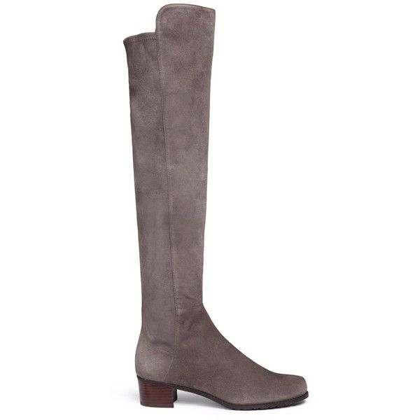 Stuart Weitzman 'All Serve' stretch suede thigh high boots ($785) ❤ liked on Polyvore featuring shoes, boots, over knee thigh high boots, stretch thigh high boots, stuart weitzman boots, suede leather boots and stretch suede boots
