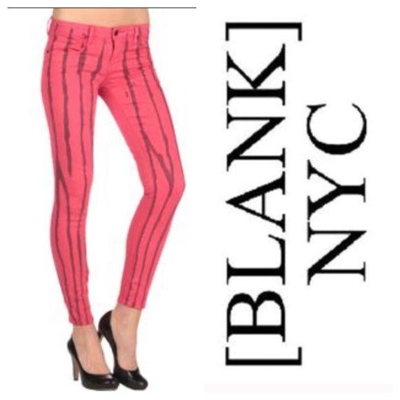 """BLANK NYC DENIM Printed Skinny Jeans Sz 25 BLANK NYC DENIM Hot Pink Printed Skinny Jeans Sz 25! Retail-$98 Measurements- Waist-13.5"""" Inseam-28"""" Blank Denim Pants Skinny"""