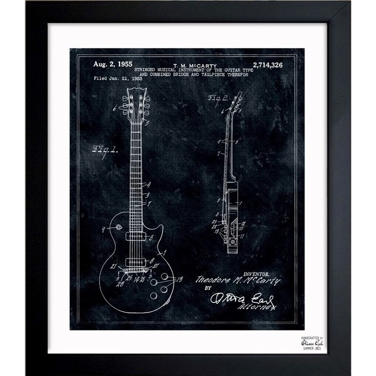 Oliver Gal 'Gibson Les Paul Guitar 1955' Framed Blueprint Art