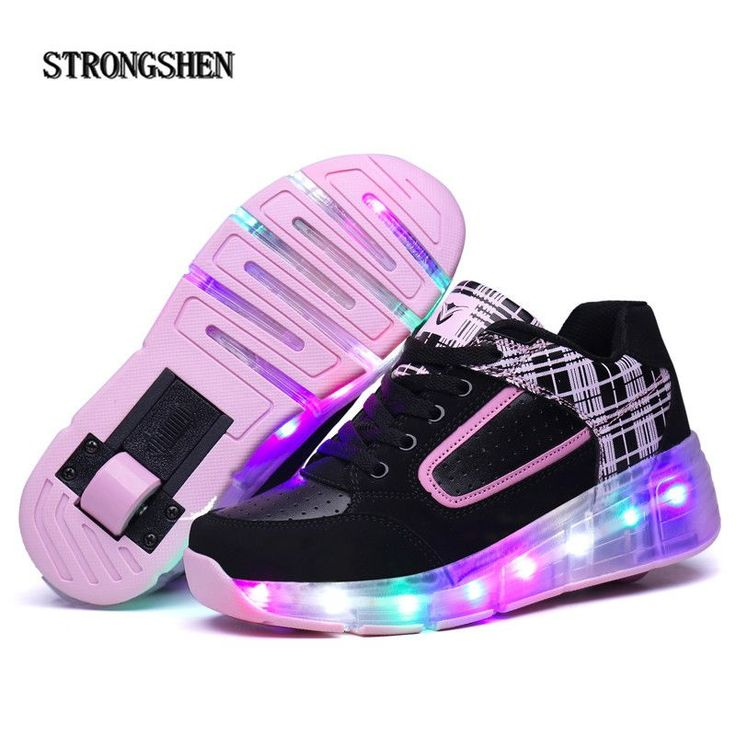 STRONGSHEN New 2017 Golden Child Fashion Girls Boys LED Light Roller Skate Shoes For Children shoes Kids Sneakers With Wheels