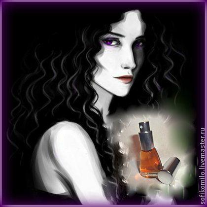 Духи `Йеннифер`  колдовской аромат. Рада представить Вам мои новые духи - это моё представление о том, какой загадочный шлейф аромата имела легендарная Йеннифер, знакомая многим...    Роскошные волосы цвета воронова крыла, бледная кожа, фиалковые глаза и аромат сирени и крыжовника...