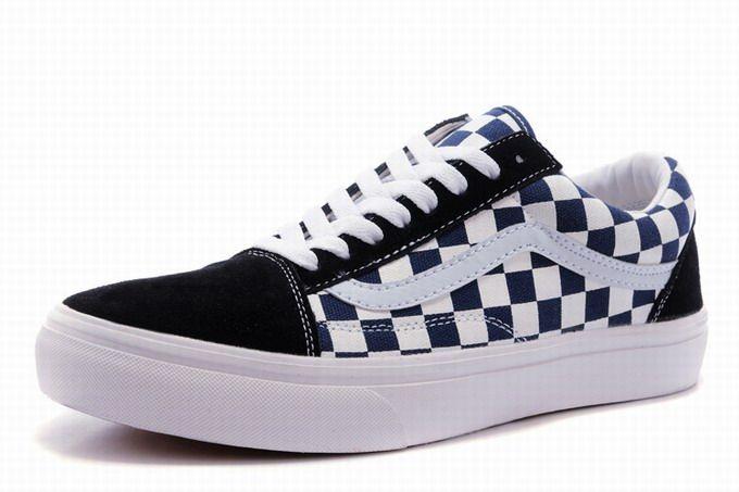 Vans Old Skool Classic Checkerboard Navy Blue White Womens Shoes  Vans 87e3ed29c
