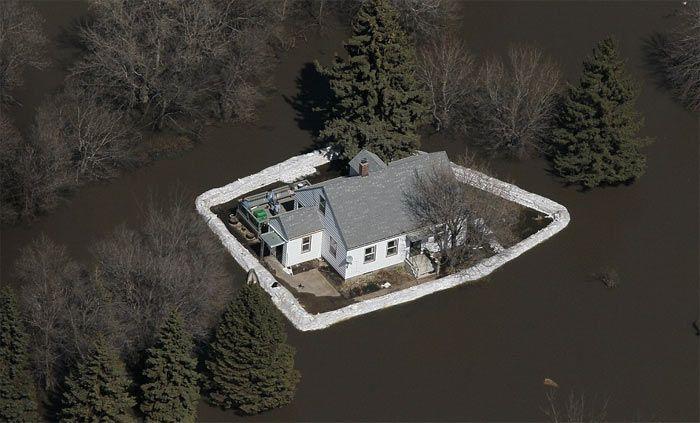 Sandbag flood protection form hurricane