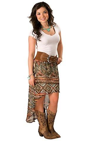 Wrangler® Ladies Turquoise, Brown and Pink Print Hi-Lo Sheer Skirt   Cavender's Boot City