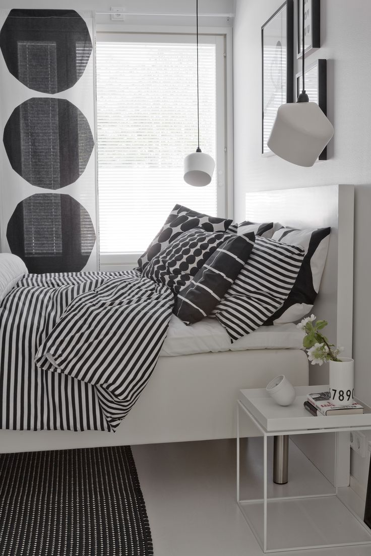 Black and white bedroom, Marimekko design, Innolux Pasila lamp, Hay Tray table…