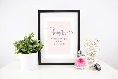 Framed family home print from $24, gorgeous housewarming gift or a beautiful compliment to your family home - a beautiful family quote to hang on your wall #familywallprint #homeprints #personalisedgifts #framedprints #homedecorideas #personalisedwallprints