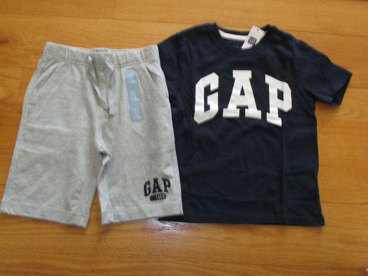 NWT Baby Gap Boys S/S Logo Navy T-shirt/Gray Shorts Outfit Size 3T/3Yrs