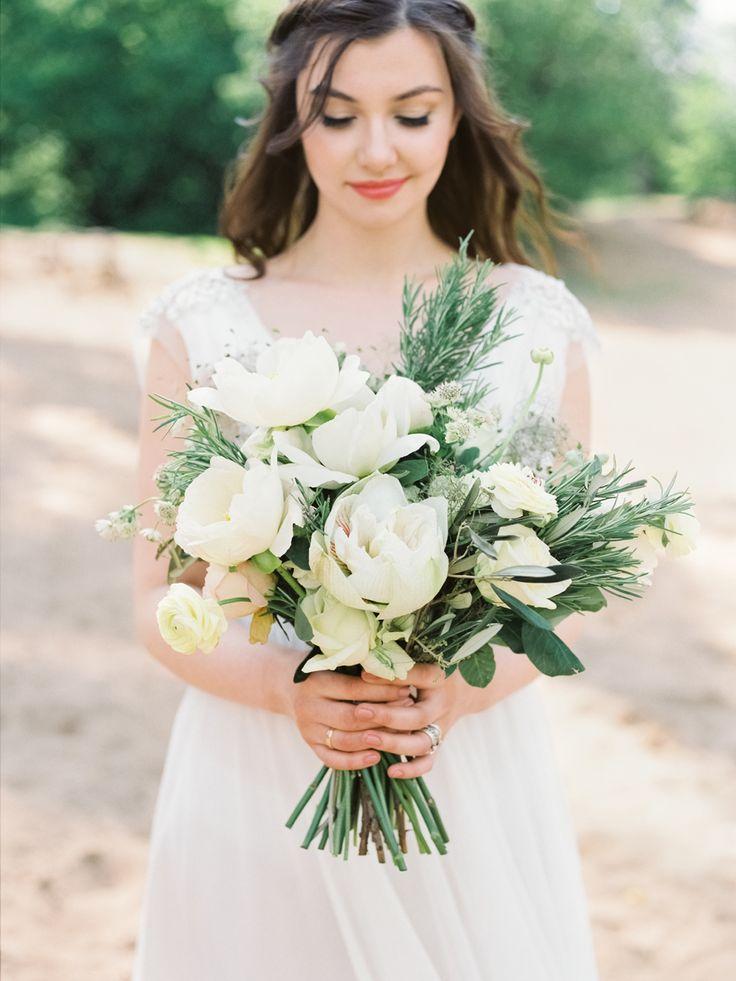 photo: Malvina Frolova #bridalbouquet, #wildbouquet, #whitepeony #peony  #bouquet, #weddingbouquet, #gardenstyle, #rosmarin #amarilis #olive #velvetribbon