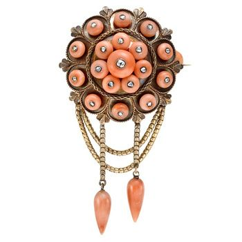 Estate Betteridge Collection Victorian Coral Pendant Brooch with Diamond  Victorian pink coral pendant brooch, composed of eighteen round co...
