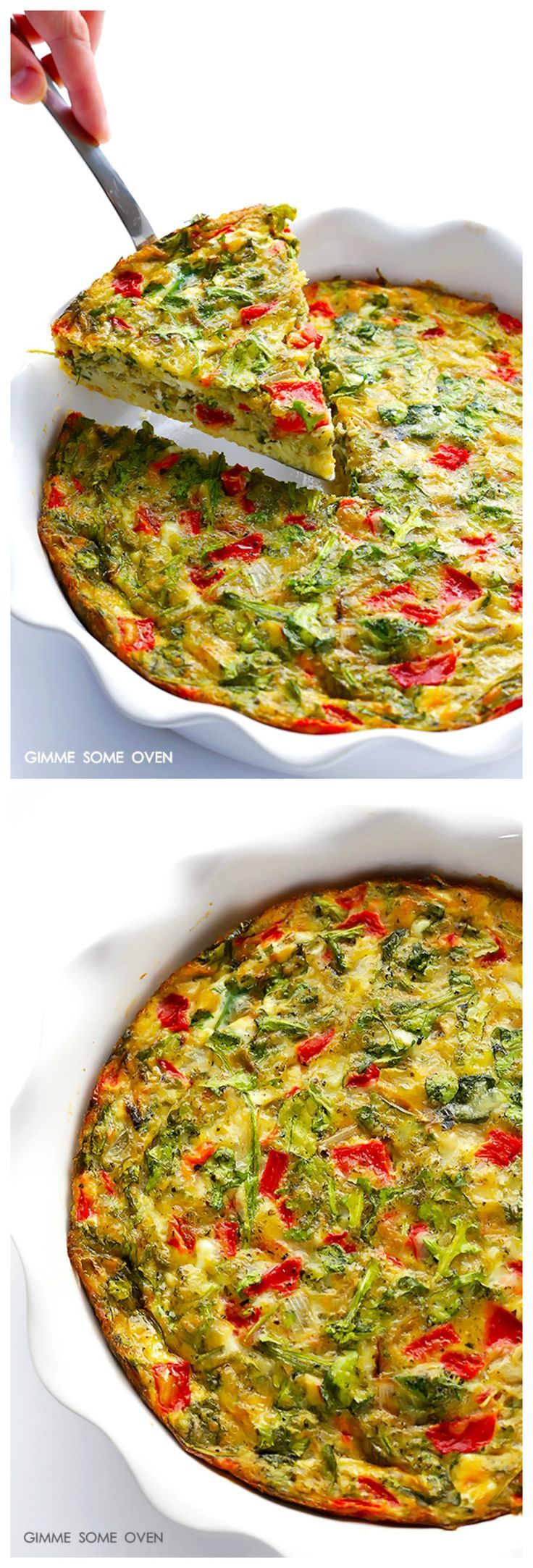Easy Baked Frittata with  Roasted Red Peppers, Arugula & Pesto -- super easy, and SUPER good!   gimmesomeoven.com