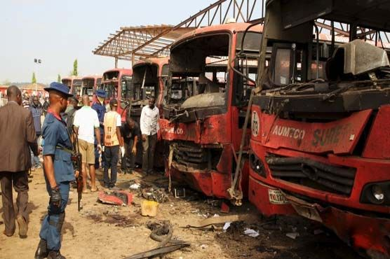 A #bombing at a #bus #station on the outskirts of Nigeria's capital killed at least 16 people on Thursday, just weeks after a deadly attack hit the same spot. No group has claimed responsibility for the latest attack, but suspicion immediately fell on #Boko #Haram, the extremist Islamist group which has killed thousands in a five-year insurgency. #World #Dunya #News