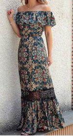Vestido longo com babado no decote – DIY – molde, corte e costura – Marlene Mukai
