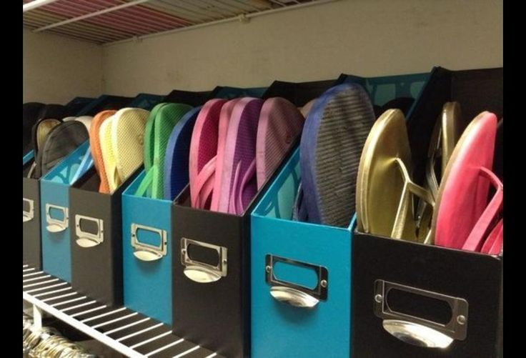 Instead of a space-hogging shoe rack, wrangle sandals and flip-flops in sleek magazine files. Also works great for organizing handbags!