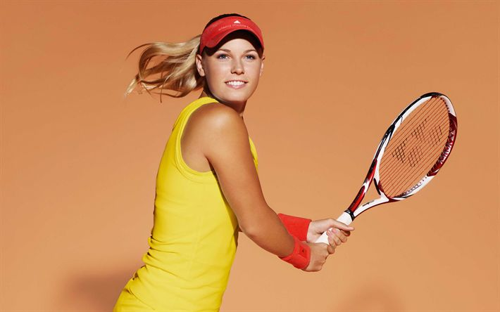 Download wallpapers Caroline Wozniacki, WTA, tennis, Danish tennis player, smile, portrait, young athletes