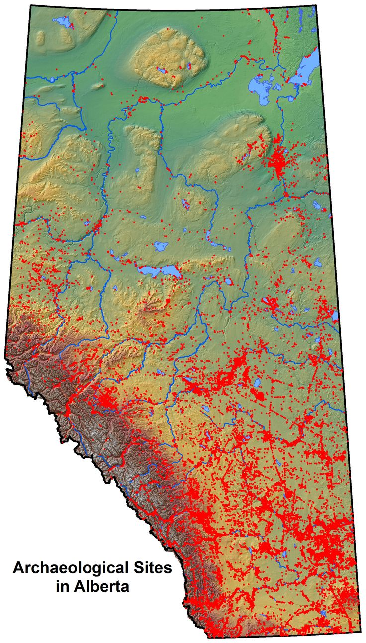 Known archaeological sites in Alberta.