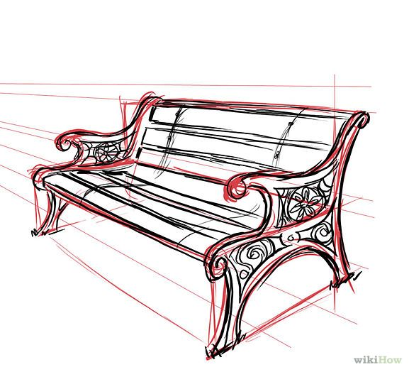 Park Bench. This makes me think of our daughter Zandi, and my friend Rhonda. Both trying to teach me about perspective. Zandi seemed to be born able to draw in perspective.