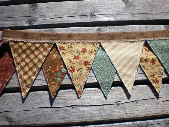 Primitive Fabric Rag Banner Pennant Bunting Garland Photo Prop Fall Decor Autumn Winter. $28.00, via Etsy.