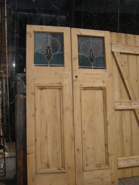 Pair of leaded light doors 25 inch wide each door  79inch high