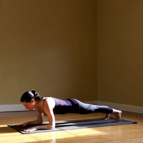 What it works: abs, back, arms, and shoulders  From Down Dog, lower onto your forearms and walk your feet out. Your body should be in one straight line with your shoulders directly above your elbows. Hold Dolphin Plank for five breaths.  Source: Jenny Sugar at Evolution Yoga Studio
