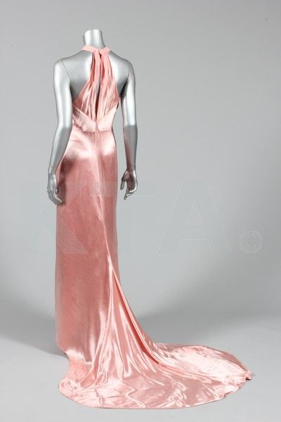 pink satin-backed crêpe couture gown in the style of Lanvin, circa 1934, but bearing Mamie, Edinburgh retail label, with contrasting matt centre front panel and collar, shirring to neck, with centre-back opening and ties, long, trained skirt with finger loop