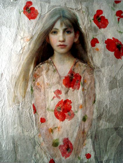 Ann Marshall  Pastel and paper collage  on paper. Love the tissue paper (?) collage on top that created the transparent look.