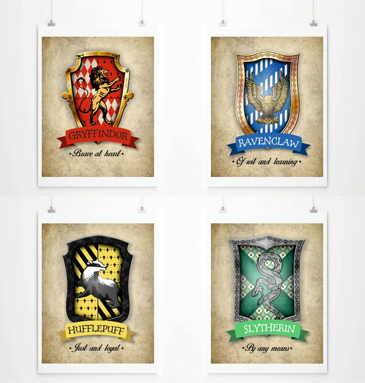 Hogwarts house crests poster harry potter art print for Harry potter home decorations